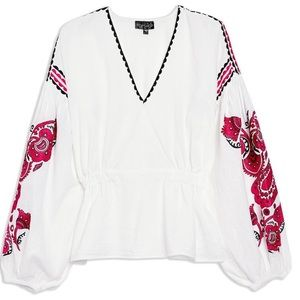 Topshop Pink Embroidered Sleeve Smock Top US 6